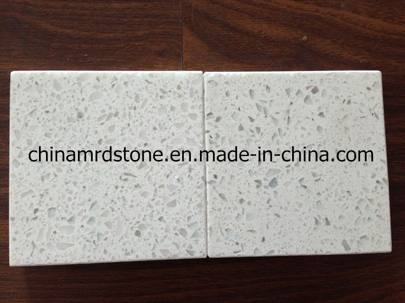White popular Sparkle Artificial Quartz Stone para Market americano