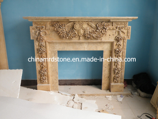 Indoor hecho a mano Used Travertine Fireplace Mantel para Home Decoration
